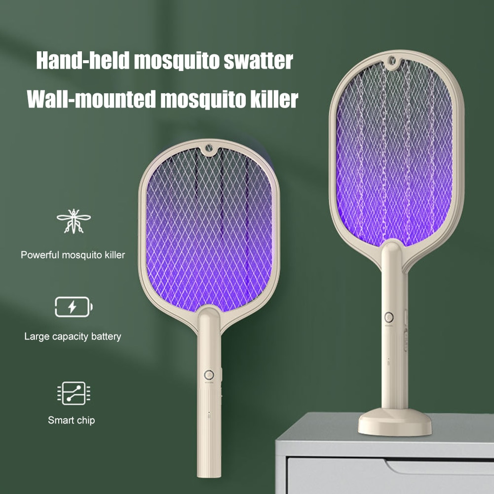 Racket Insects Killer Stun Useful 2 in 1 Electric Insect Racket Swatter USB Rechargeable Led Light Mosquito Killer
