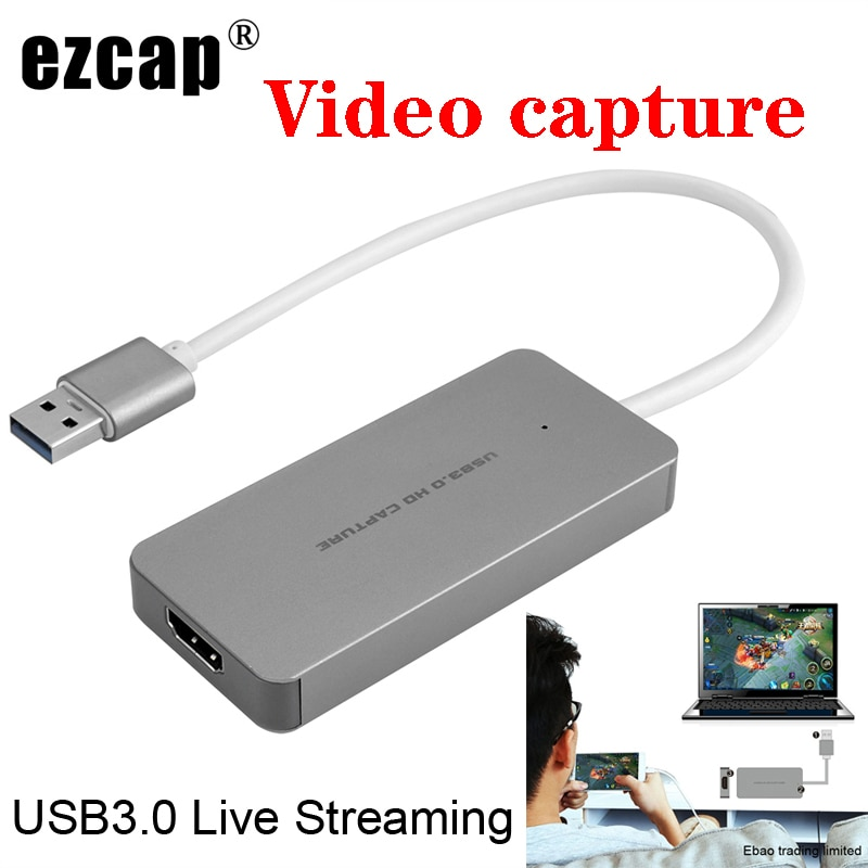 Ezcap usb 3.0 hd captura de vídeo jogo gravador de vídeo 1080 p ao vivo sbreaming conversor plug and play para xbox um ps3 ps4 wii u