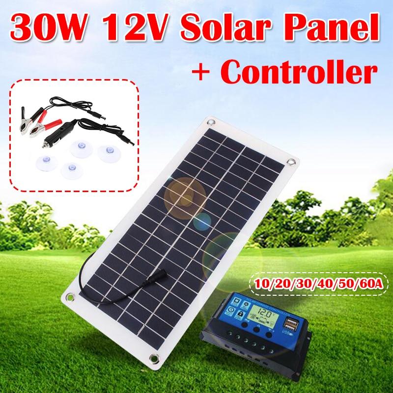 مجموعة اللوحة الشمسية كاملة 30 واط 12 فولت المزدوج USB الناتج الخلايا الشمسية بولي الشمسية مجلس 10-60A تحكم Outdroor شاحن بطارية الطاقة