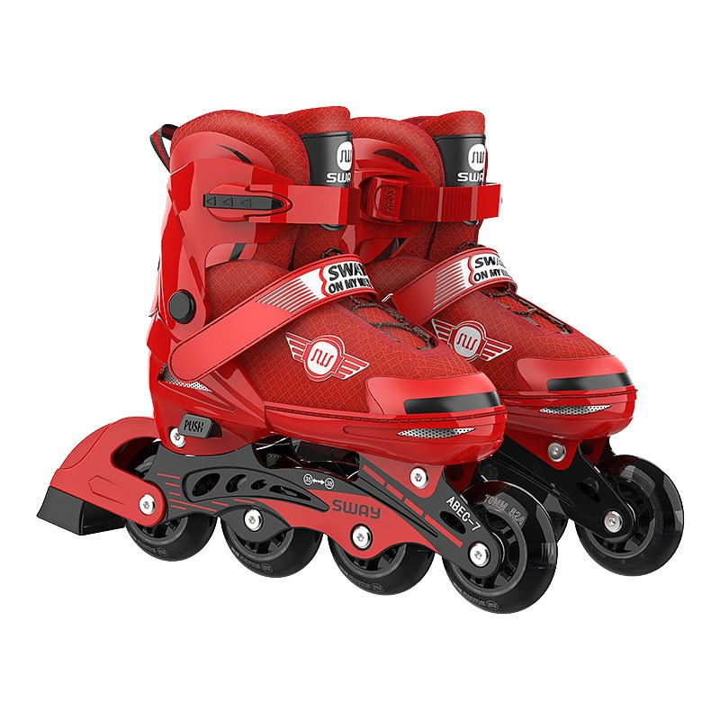 Детские роликовые коньки с 4 колесами, регулируемые мигающие роликовые коньки, обувь для начинающих, Нескользящие роликовые коньки с компле...