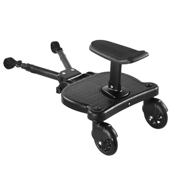 Universal Stroller Pedal Adapter Second Child Prams Auxiliary Trailer Twins Scooter Hitchhiker Kids Standing Plate with Seat
