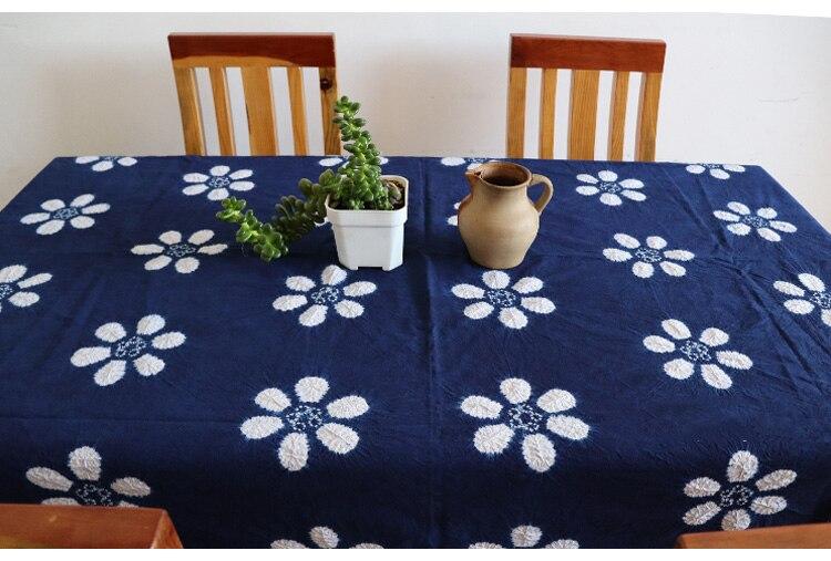 اليد التعادل صبغ Tablecloth النباتات الطبيعية اليد مصبوغ مفرش طاولة Rectang النيلي مفرش المائدة غطاء طاولة شاي الستار نسيج 125*175 سنتيمتر