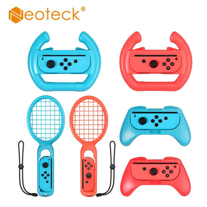 Neoteck-عجلة القيادة لمضرب التنس ، ملحقات وحدة التحكم في التبديل ، مجموعة مقبض Nintendo Switch ، Joy-Con Switch