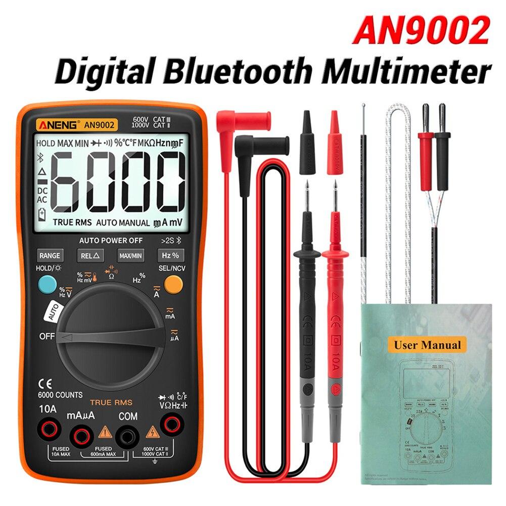 Aneng an9002 bluetooth multímetro digital 6000 contagens multimetretrue profissional rms ac/dc tensão atual tester auto range Multímetros    -