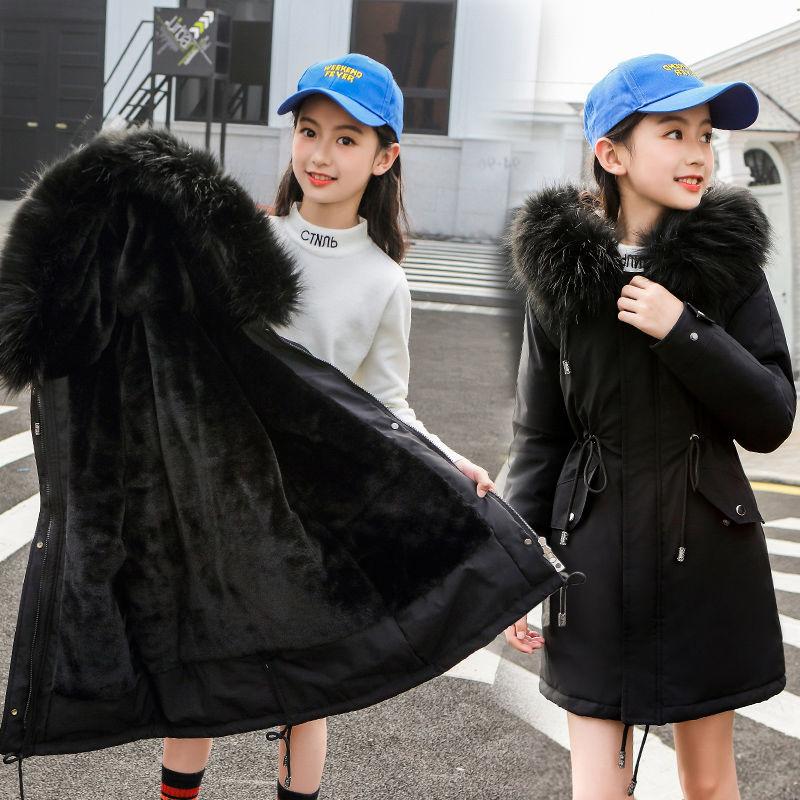 2020 Winter Snowsuit Girls Clothes Cotton Padded Outerwear Kids Hooded Thick Velvet Coat Children Girls Warm Jacket Parkas W579