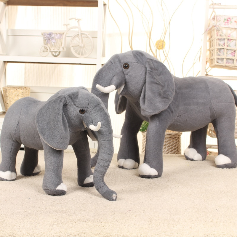 AliExpress - 37cm*26cm Real Life Elephant Stuffed Plush Toys Artificial Animal Toy Doll Home Decor Accessories Toys