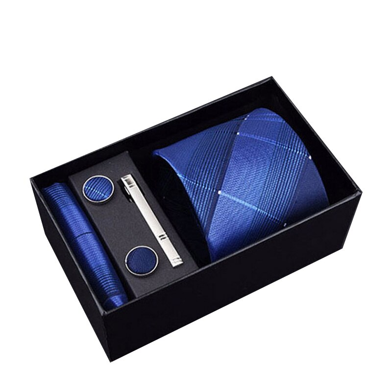 New Design Tie Set With Gift Box Jacquard Woven 8 cm 100% Silk Tie Clips Hanky Cufflinks Necktie Sets For Wedding Party Bow Tie недорого