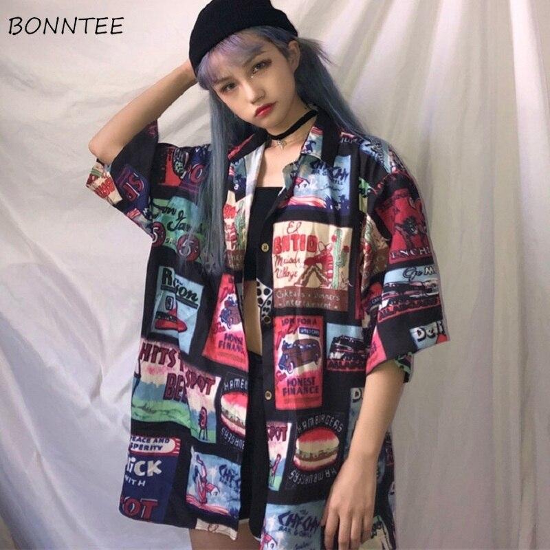 Camisas para mujer, Simple, combinable, Hip Hop, Harajuku, estilo coreano de moda, con estampado holgada, blusas de ocio para mujer, de una sola hilera de botones