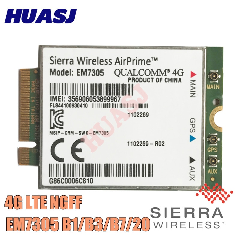 Huasj new Sierra Wireless EM7305 Embedded Module is an M.2 modem 4G LTE B1 B3 B7 B20 SKU 1102269  4G FDD NGFF