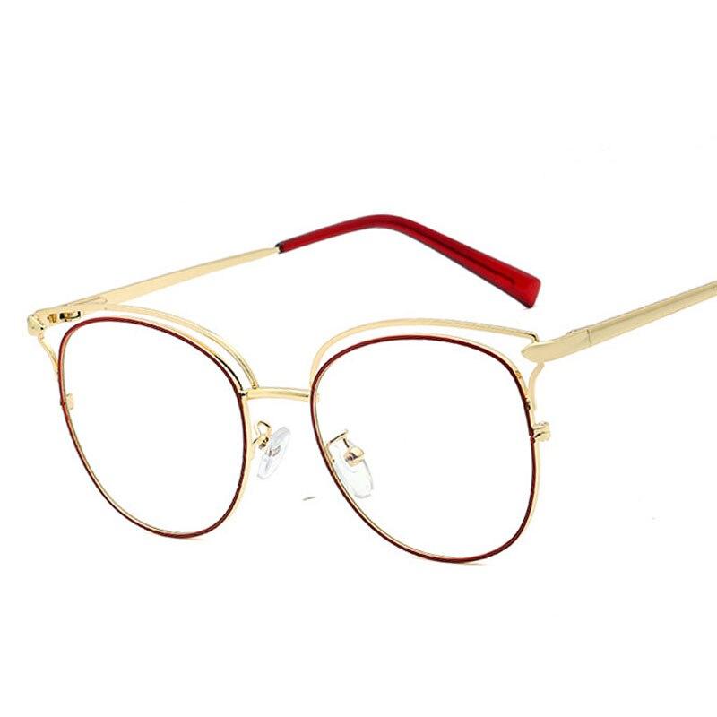 Veshion Anti-blue Light Vintage Cat Eye Metal Glasses Frames Men Women Optical Fashion Computer Glas