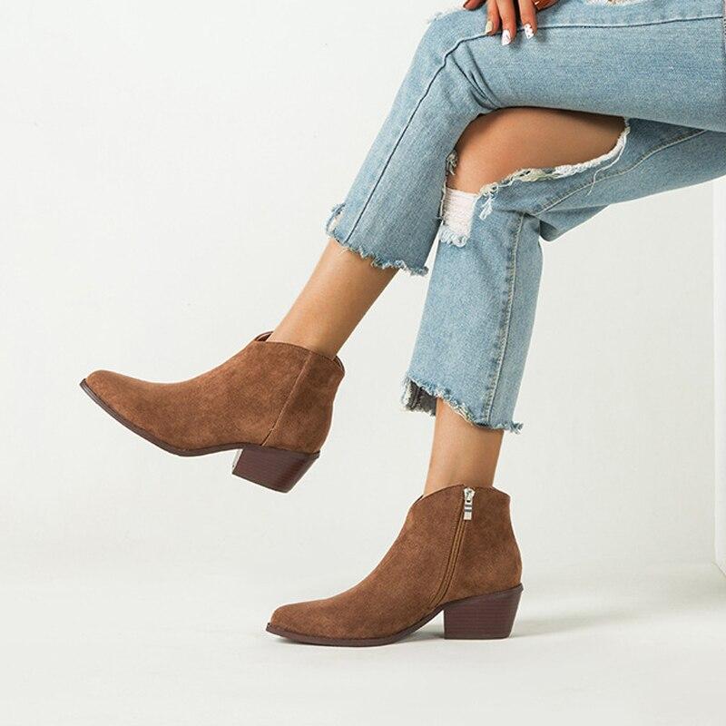 2021 женские ботильоны из искусственной замши повседневные женские ботинки на высоком каблуке высокие ботинки с молнией сбоку короткие ботинки на блочном каблуке ковбойские пинетки