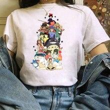2021T shirt Short Kawaii Cute Anime Tee Clothing Totoro Ghibli Harajuku Shirt Women Ullzang Miyazaki