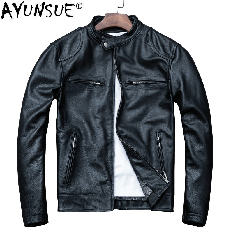 AYUNSUE Spring Autumn Genuine Leather Jacket Men Sheepskin Coat Real Cow Leather Coat Short Motorcycle Jacket Men Clothes 2020