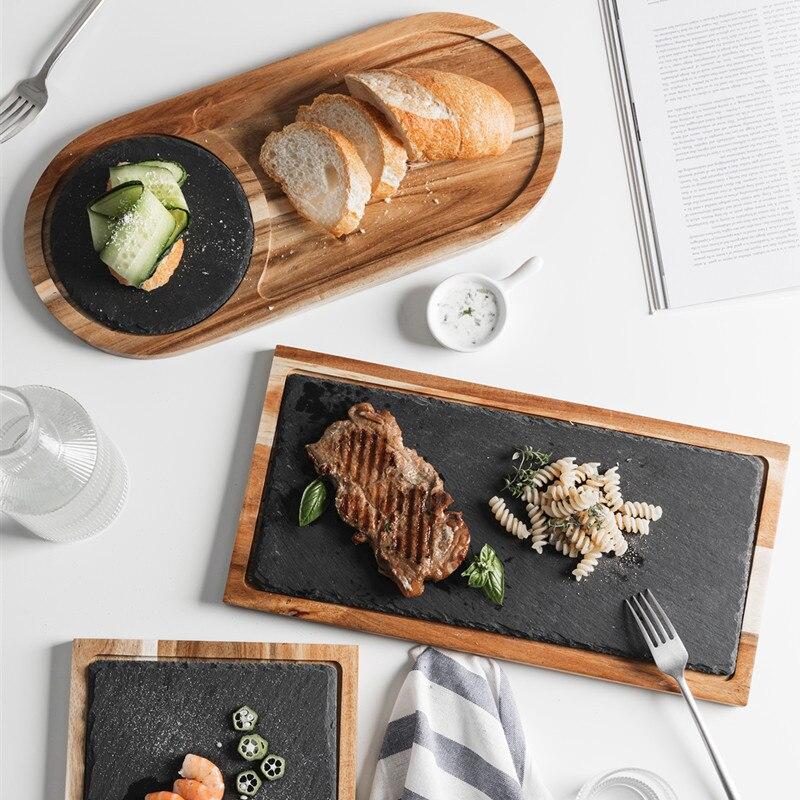 Натуральная деревянная доска с сланцевым камнем, поднос для кухни, суши, барбекю, тарелка для стейка, десерта, торта, поднос, Кухонное блюдо, ...
