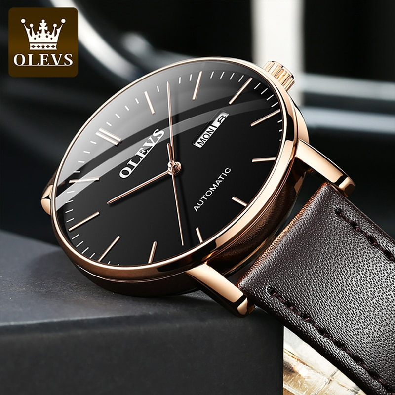 OLEVS Men Luxury 30M Waterproof Automatic Three Dimensional Dial Mechanical Dual Calendar Wear Wresistant Watches Reloj Hombre enlarge