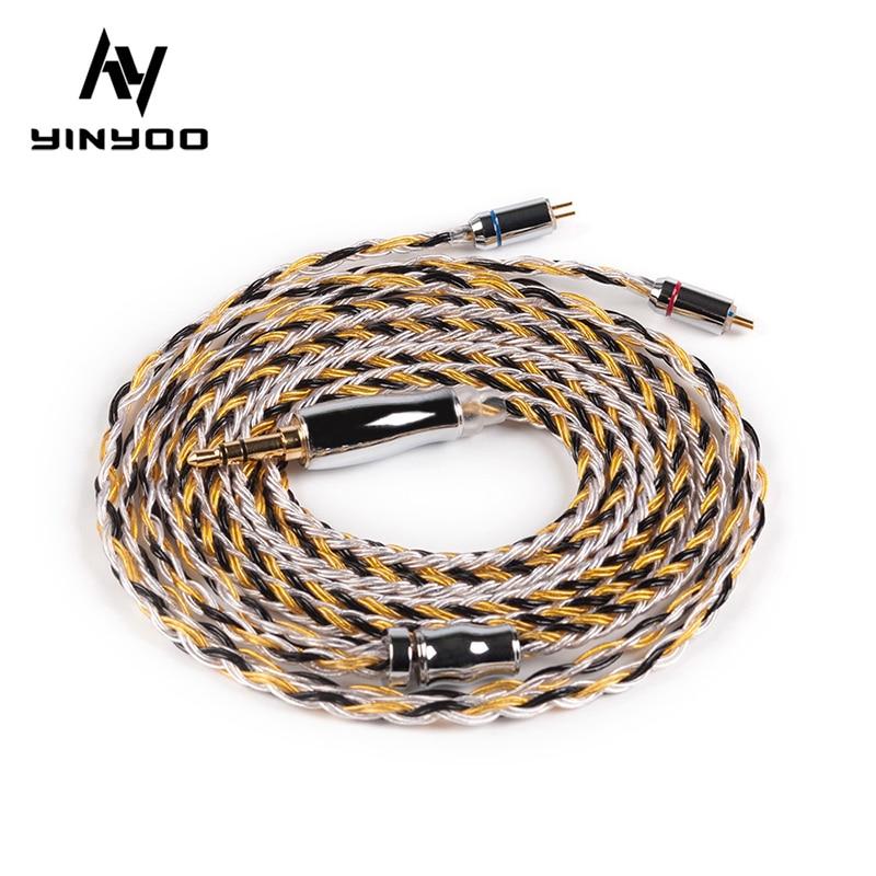Yinyoo cabo de cobre banhado à prata, cabo 16 core atualizado 2.5/3.5/4.4mm com mmcx/2pin/qdc conector tfz para kz zs10 zsn pro as16 zsx