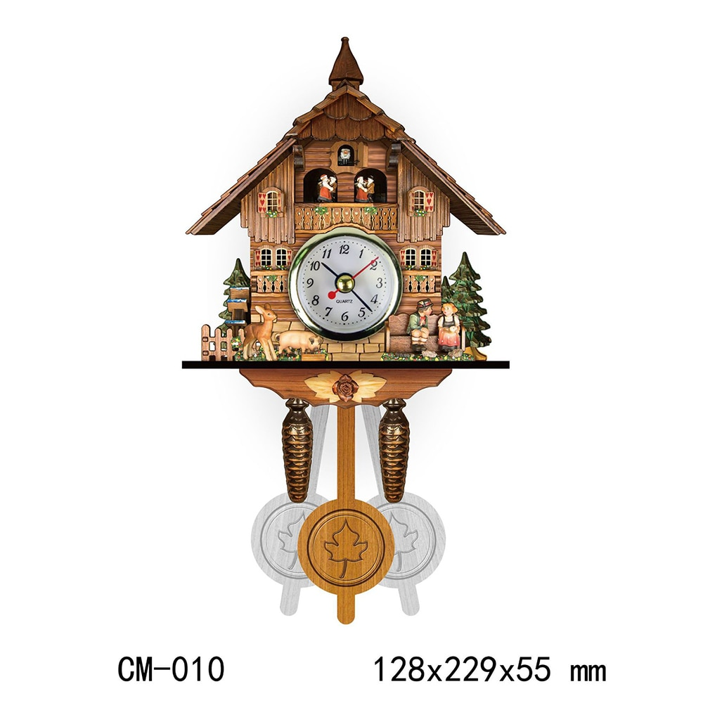 Retro Nordic Style Cuckoo Clock German Black Forest Wooden Cuckoo Wall Alarm Clock Home Decoration Accessories for Living Room