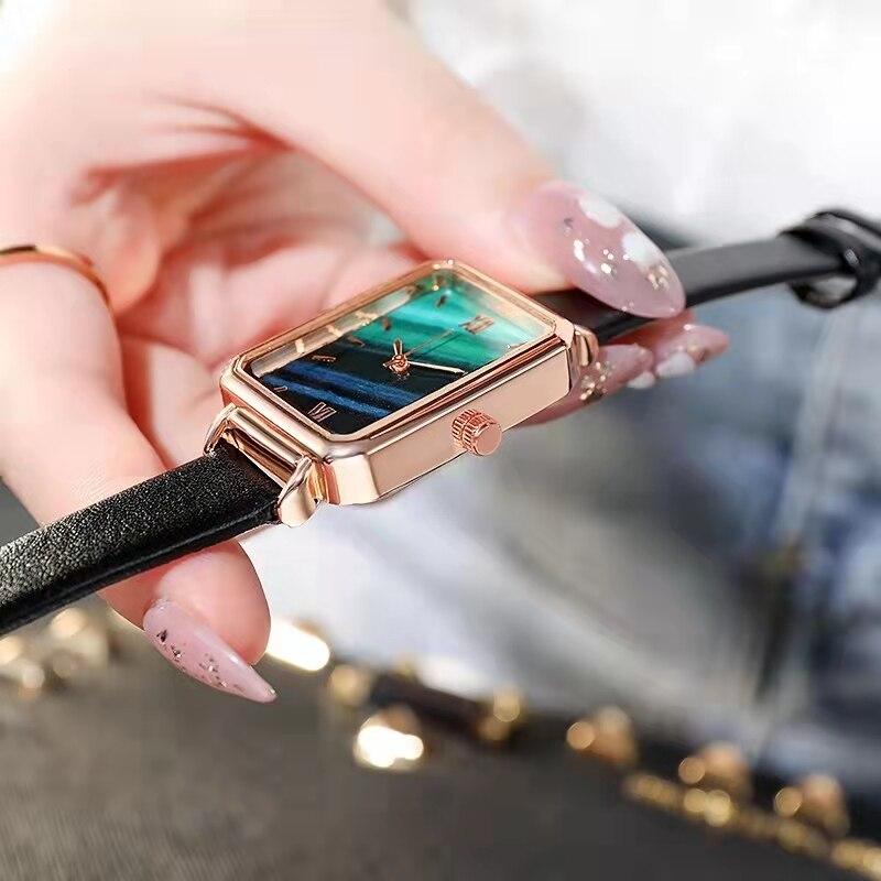 SHSHD Brand Women Watches Fashion Square Ladies Quartz Watch Bracelet Set Green Dial Simple Rose Gol