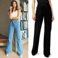 new high quality 11j b high waisted drape waistband wide loose ground pants wide leg pants fashionable jeans
