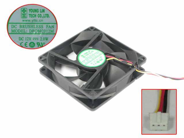 Joven Lin DFC802012M DC 12V 2W 80x80x20mm 3-Alambre de ventilador de refrigeración de servidor