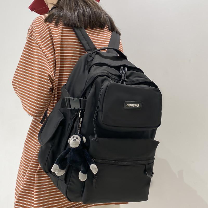 DCIMOR New Large Capacity Double Pocket Waterproof Nylon Women Backpack Femlae  Laptop Backpack for
