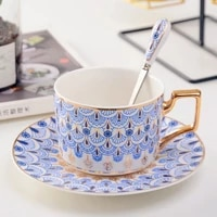 vintage ceramic teacup british coffee cup with spoon and saucer set 220ml tea cup for coffee milk grid stripe