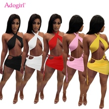 Adogirl Women Sexy Halter Crop Top Lace Up Hollow Out Bodycon Mini Skirt Two Piece Set Dress Fashion