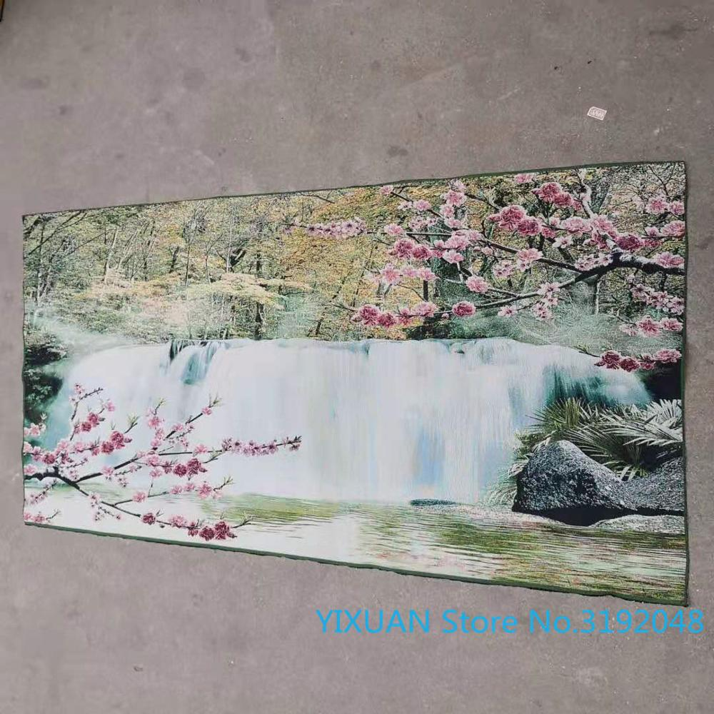 Água fluindo faz riqueza paisagem pintura de seda thangka brocado pintura ouro pano de seda bordado artesanato antigo