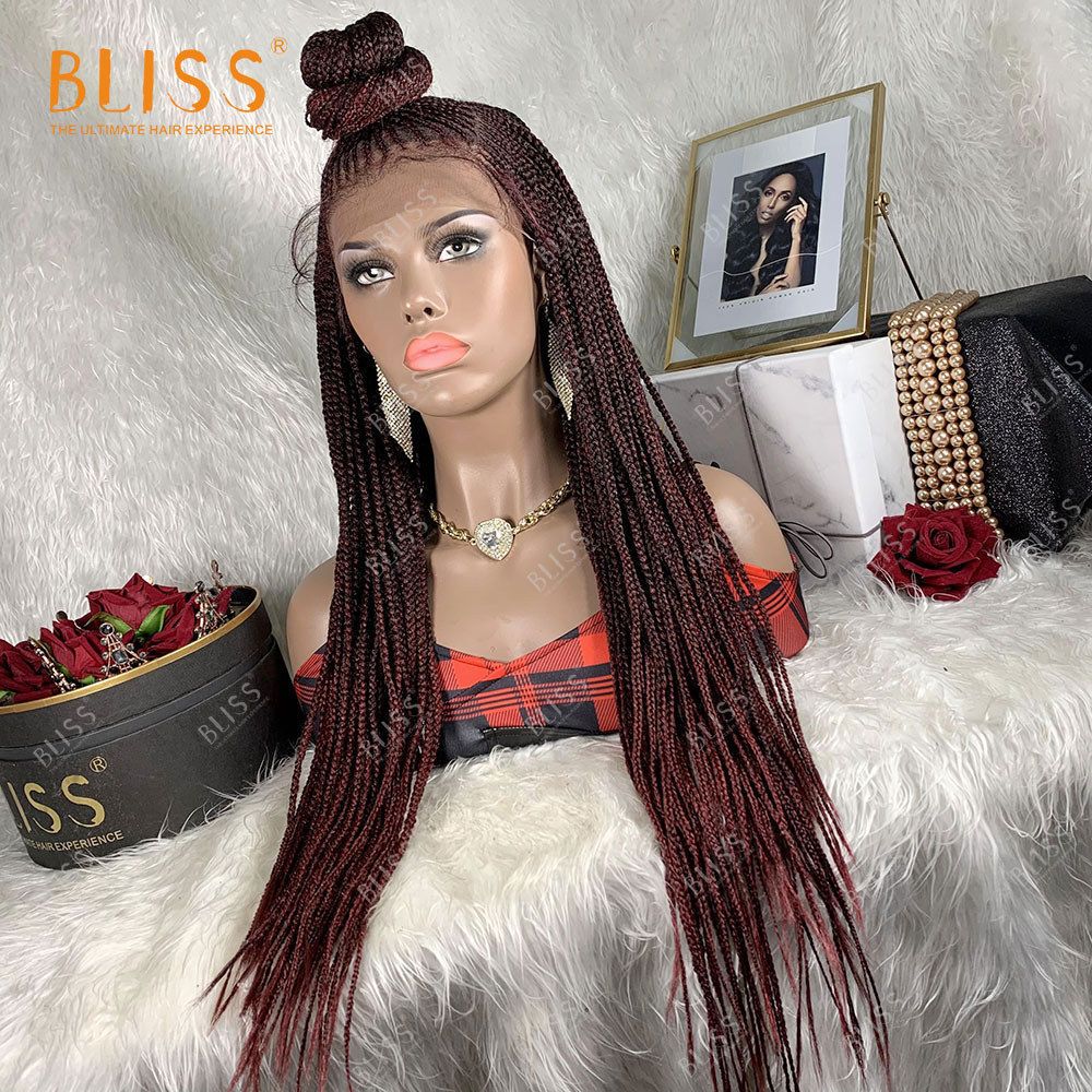 Lace Synthetic Hair Wigs With Bun 13X4 Lace Front Braided Wig For Black Women Bliss 2021New Synthetic Braids Wigs 30 Inches