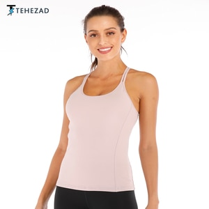 TEHEZAD Women Yoga Sport Top Ladies Workout Camis Fitness Vest Gym Running Clothing Large Size Tank Female Push Up Underwear