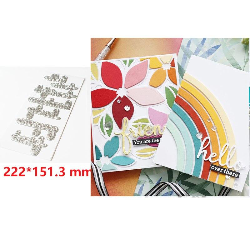 Troqueles de corte de metal hello set troquelado molde para álbum de recortes confección de tarjetas molde artesanal para corte de papel recién llegado 2020