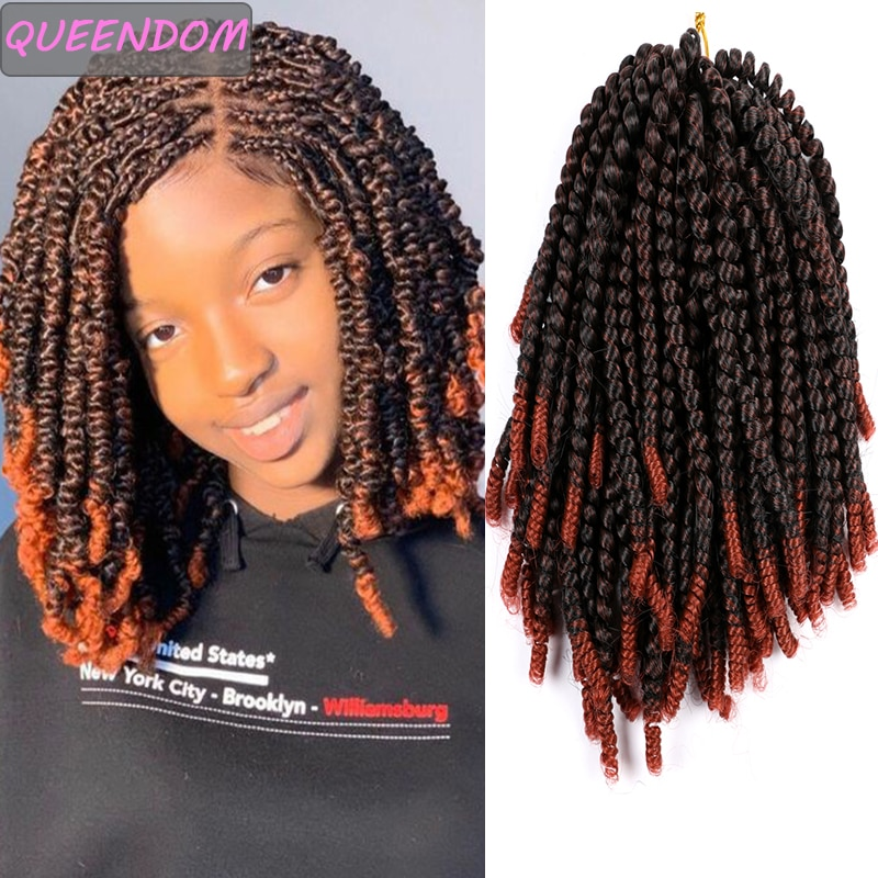 30 Roots Ombre Crochet Hair Extensions Spring Twist Hair Synthetic Braiding Hair Bounce Fluffy Twist Hair Crochet Braids Blonde onxy 8inch fluffy spring twist crochet hair extensions synthetic crochet braids black brown ombre braiding hair 110g