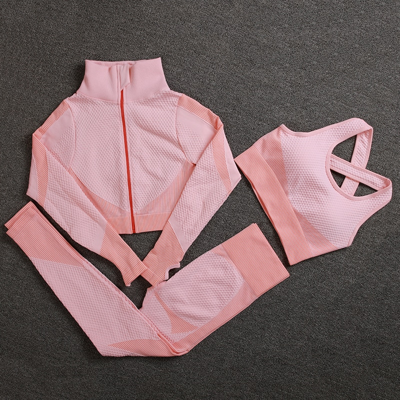 Seamless Women Yoga Sets Female Sport Gym Suits Wear Running Clothes Fitness Set Long Sleeve Clothing