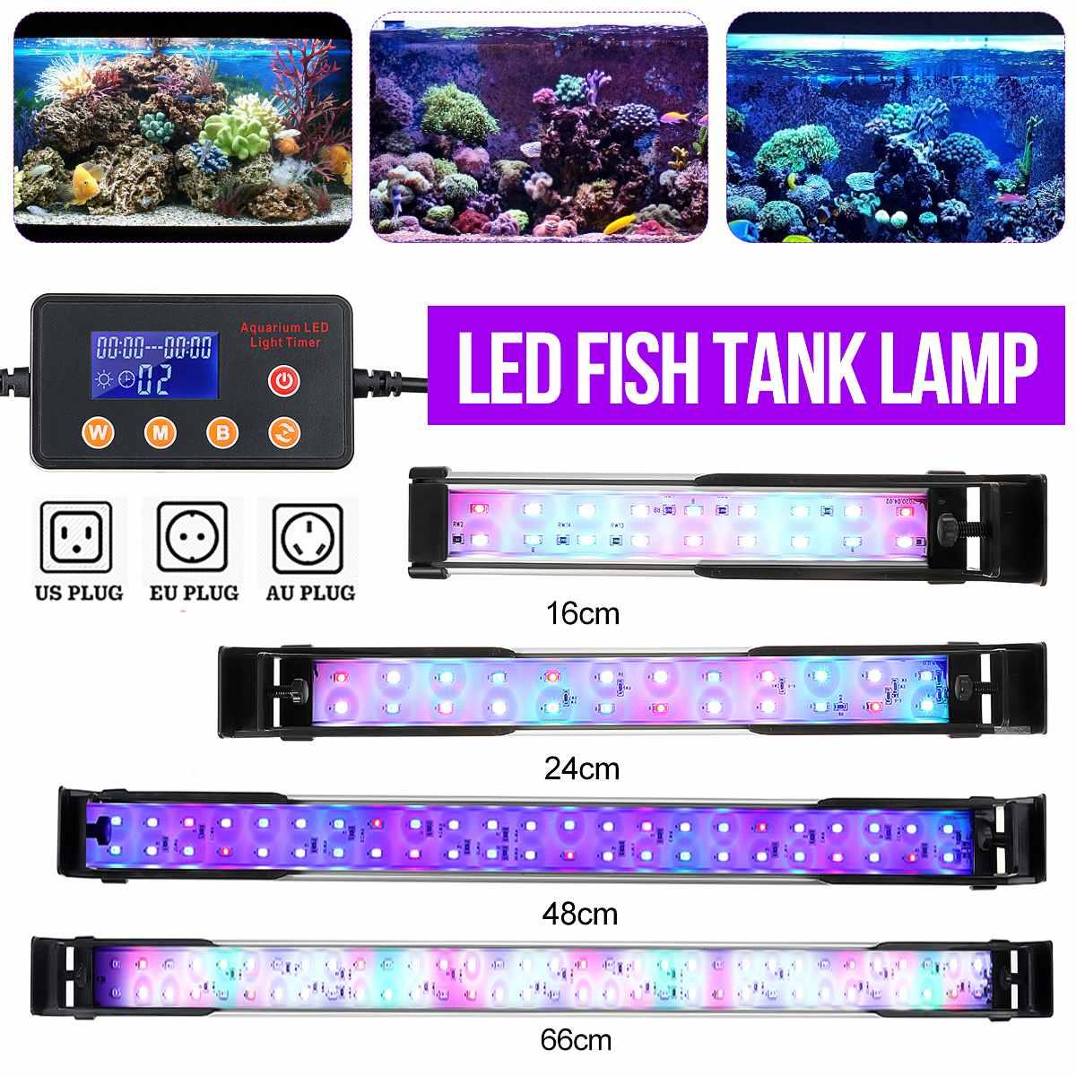 Luz LED para acuario Led iluminación lámpara para acuario 22-72CM, ajustable planta acuática lámparas RGB decoración remoto profesional luces