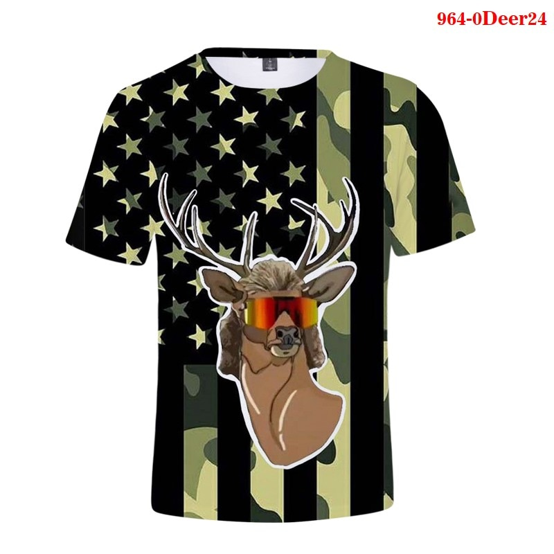 Summer 2020 3D Deer Printed Men's T-shirt O-neck Short Sleeve 3D Animal T-shirt Camisas De Hombre Men's T-shirt for Men Women high quality french bulldog frenchies printed t shirt for men male dogs animal lovers short sleeve o neck cotton funny t shirt