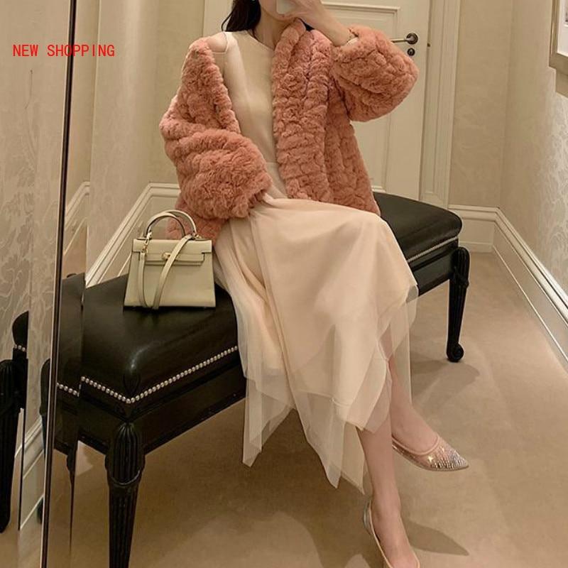 Teddy Bear Coat Faux Wool Fur Jacket Ladies Casual Fake Rabbit Fur Outerwear Soild Turn-down Collar Overcoat Luxurious Winter