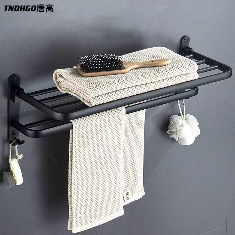 منشفة رف لكمة خالية اكسسوارات الحمام للطي هوك ماتي الأسود الألومنيوم تخزين الرف منشفة حامل الحائط المنظم شماعات