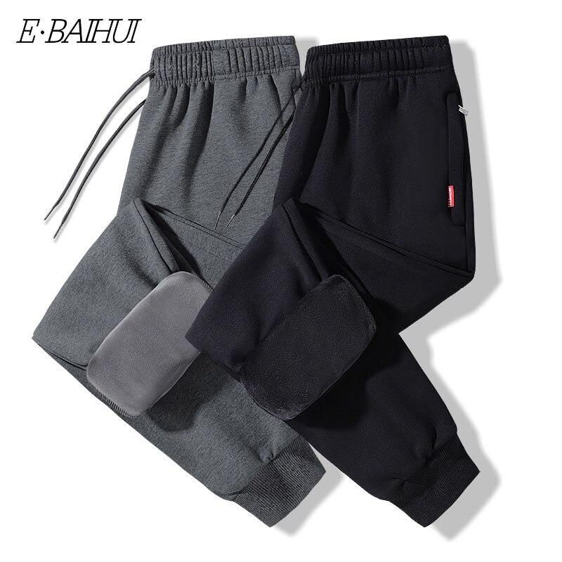 Мужские флисовые штаны для бега, прямые брюки, мужские зимние теплые бархатные тренировочные штаны 8XL, спортивный костюм, толстые штаны для ...