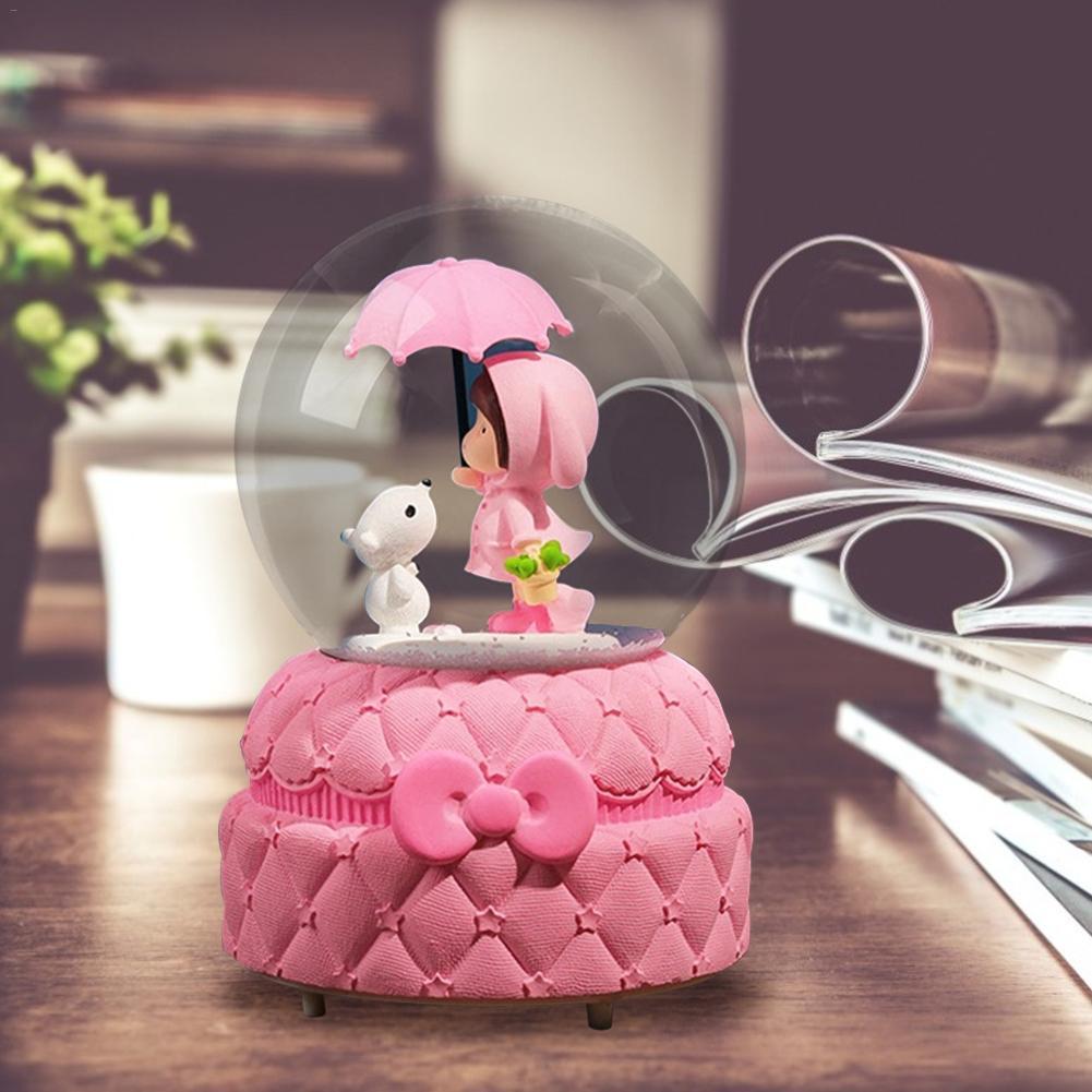 Музыкальная шкатулка в розовом стиле девушка сердце розовые снежные фонари