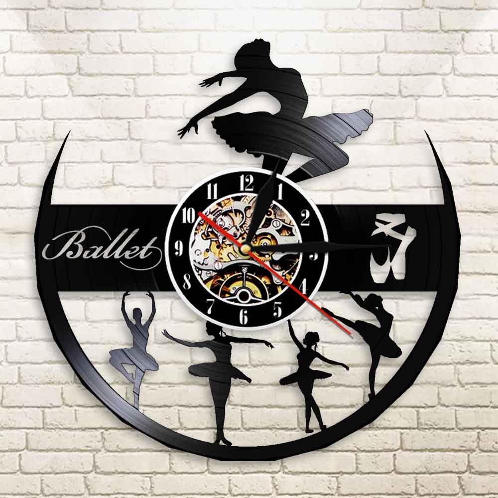 Reloj de pared de vinilo para niña bailarina bailando, decoración de pared moderna para Ballet, regalo para amante