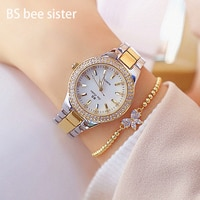 Dropshipping BS Brand lady Crystal Watch Women Fashion Quartz Watches Female Stainless Steel Dress Gold Clock Relogio feminino