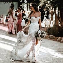 Simple Boho Mermaid Lace Wedding Dresses Ivory Off the Shoulder Trumpet Bohemian Bridal Gowns Long Beach Bride Dresses