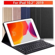 마그네틱 키보드 케이스 iPad 10.2 2019 애플 iPad 7 7 세대 Protectiver 태블릿 커버 funda capa + 러시아어 스티커