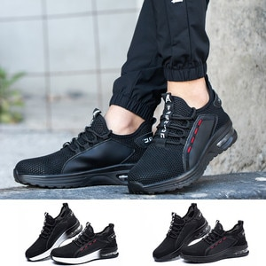 Breathable Knit Men Casual Shoes With Steel Toe Cap Big Size Anti Piercing Work Sneakers Anti Skid Safety Working Boots For Man