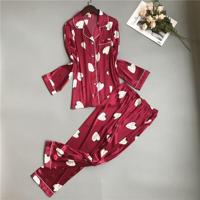 Long Sleeve Women Pajamas Set Burgundy Satin 2PCS Sleepwear Casual 2 PCS Shirt&Pant Female Pajamas Suit Silky Home Clothes