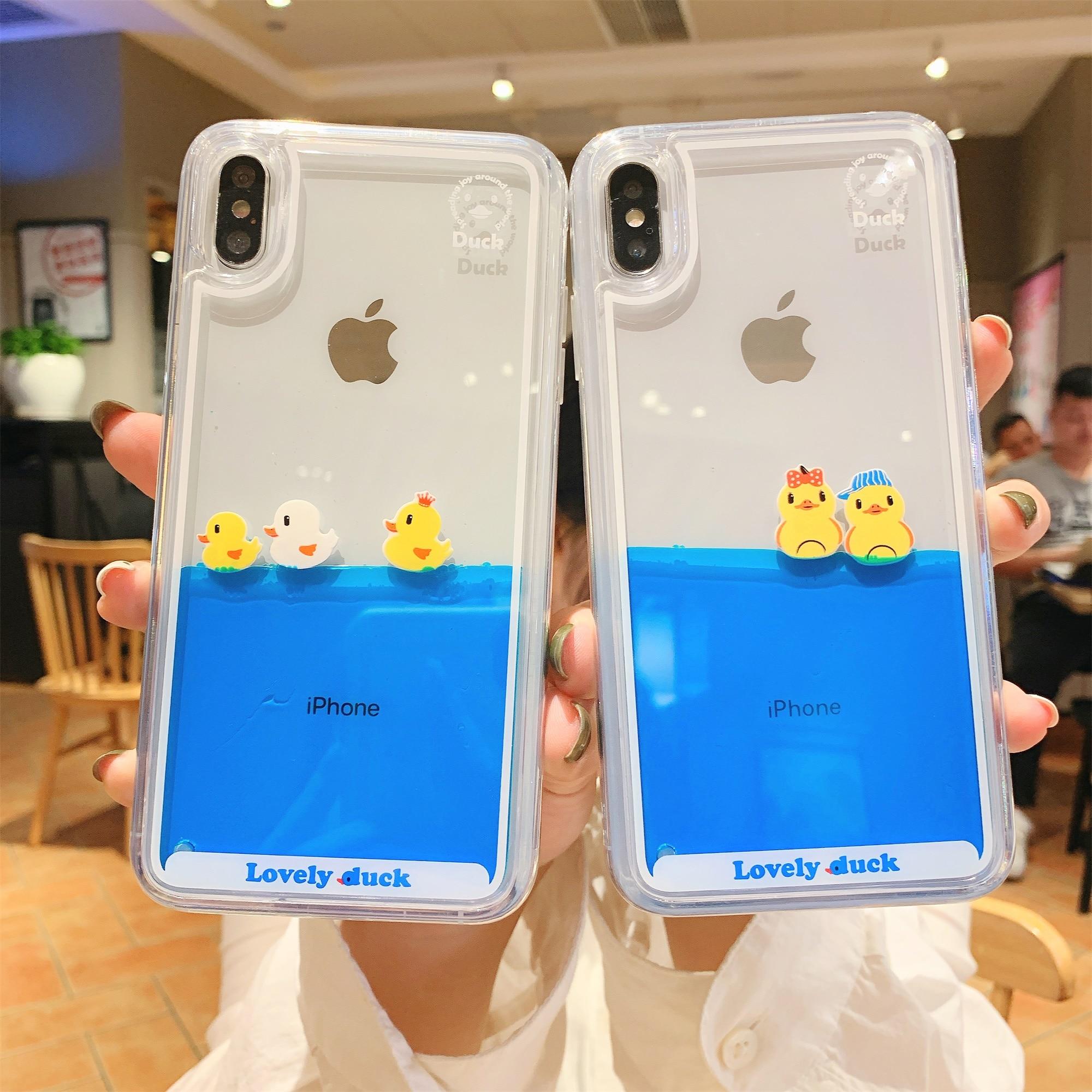 Liquid quicksand phone case For iphone8 6s 6 7 8 8Plus X XS XR XsMAX 11Pro 11 10 11ProMAX SE2020 3D dynamic swimming duck Case