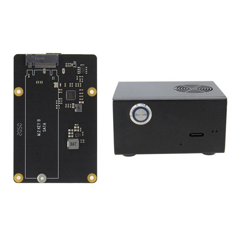 لوح تمديد X862 يدعم M.2 NGFF + حافظة معدنية مع مروحة ومفتاح لـ Raspberry Pi 4B