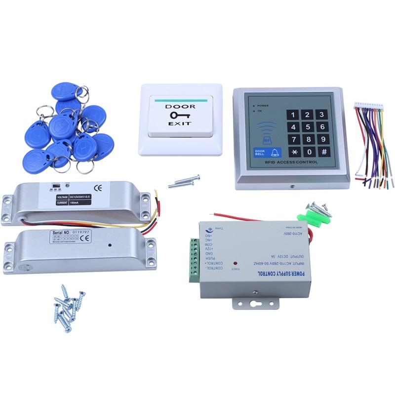 RFID لوحة المفاتيح الباب نظام مراقبة الدخول كيت الكهربائية المغناطيسي الإلكترونية قفل الباب امدادات الطاقة 5 قطعة مفتاح Fobs كامل مجموعة باب Secur