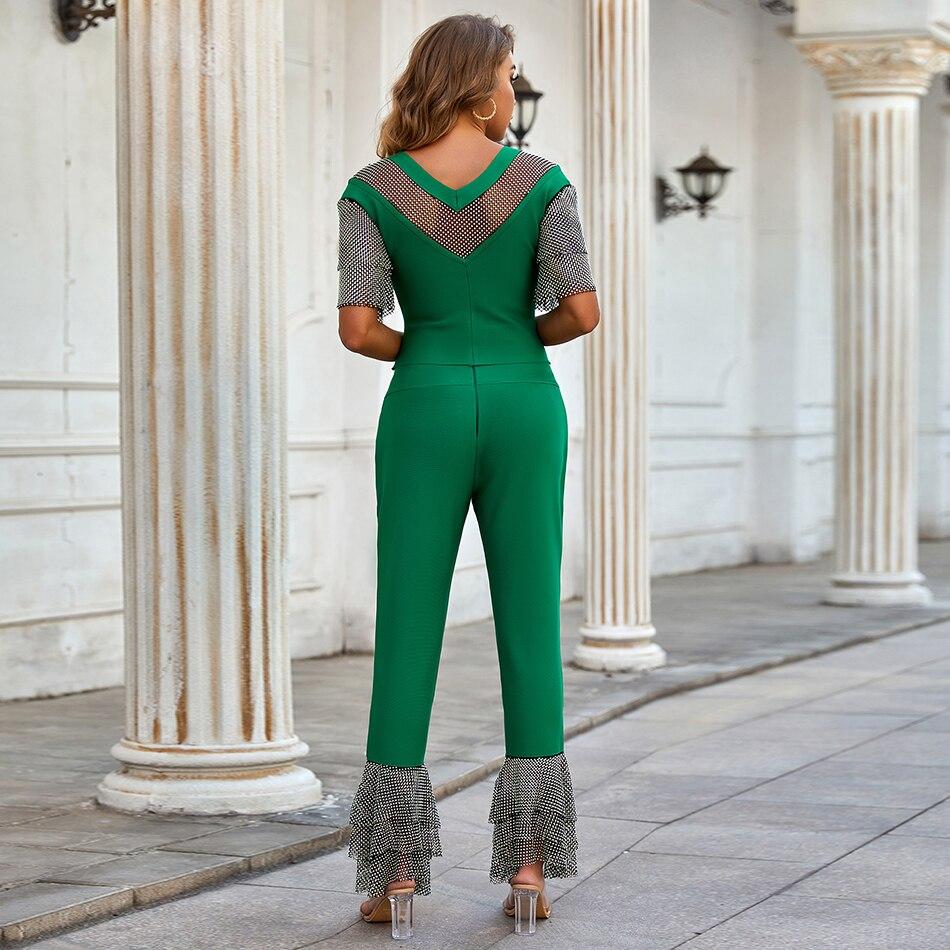 Green Ruffle Short Sleeve Diamond Crystal 2021 Ladies Summer Luxury Sexy  Bodycon Bandage Celebrity Designer Bodycon Jumpsuit enlarge