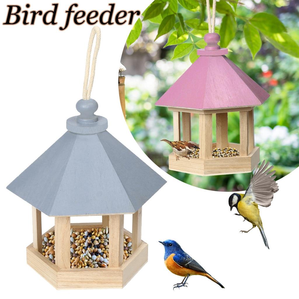 Alimentador de pájaros de madera colgante para decoración de patio de jardín en forma de hexágono con techo montaje en la pared del hogar al aire libre Nido de Pájaro artes de madera @ 45
